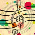 Hand drawn Treble Clef, patterned design within, multicolor, creatively processed, anomalies are part of the artwork.