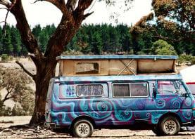 festival transport groovy van hippie art