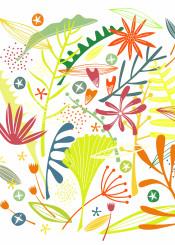 flowers leaves plants jungle tropical tropics bright pattern floral illustration art design color