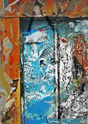 collage painting girl mood blue orange abstract street poster art sqirrel nature sea urban