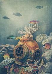 sea ocean fish nautical vintage reef