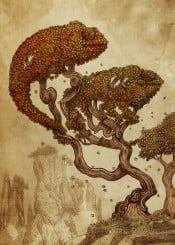 chameleons autumn trees illusion vintage illustration opifan64 sepia nature mountains asian