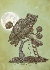 owl moon tree topiary gardener moon stars night green