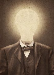 man vintage surrealism idea light bulb sepia