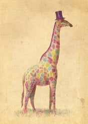 giraffe tophat colorful vintage