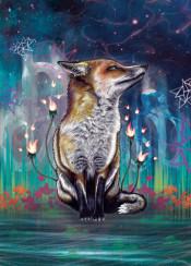 fox night stars illustration fire green nature