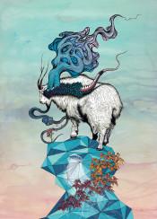 mountain goat surreal geometric snake smoke watercolour