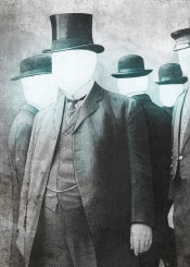 vintage people hats surreal collage photography illustration