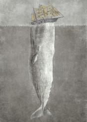 moby whale sea ocean ship nautical vintage