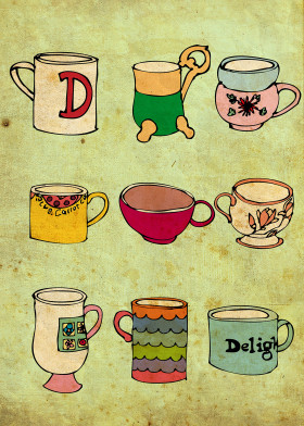 mug drink vintage cute antique drawing doodle collection green tea coffee