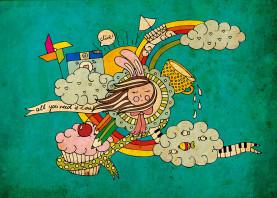 cute drawing doodle vintage girl cloud rainbow cupcake diana piano fish ship bunny drop happy