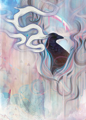 crow raven dream smoke surreal abstract soft pastel texture watercolour watercolor sky clouds spirit