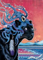 panther magic pattern tribal sunset shaman animals cat mysterious puma