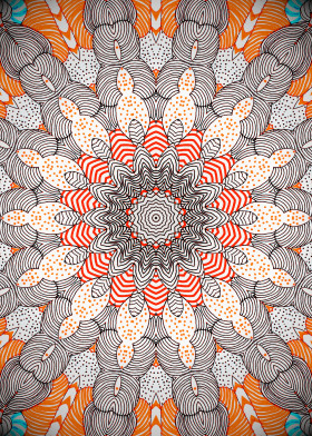 mandala kaleidoscope orange black white stripes dots illustration bowling circles abstract magical