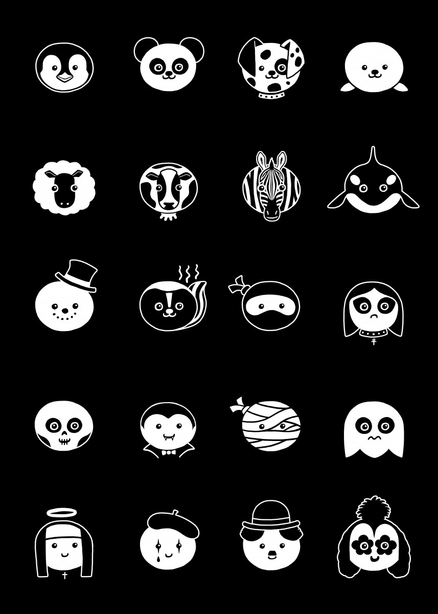 A guide to black and white creatures and characters.