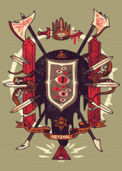 lovecraft space medieval sword halbred tentacle crown scifi occult arcane arms