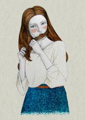 illustration pencil watercolor people