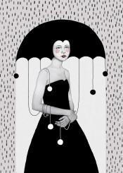 illustration rain girl umbrella
