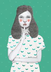 girl dots shh pattern watercolour