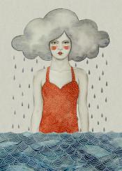 cloud rain water drops girl watercolour