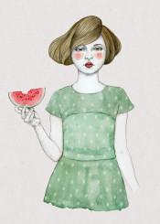 girl illustration watercolour watermelon