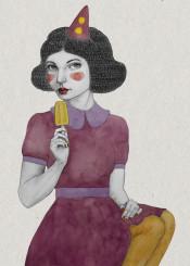 popsicle girl watercolour illustration texture