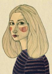girl illustration cheeks watercolour