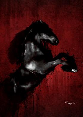 horse dark black etalon noir red