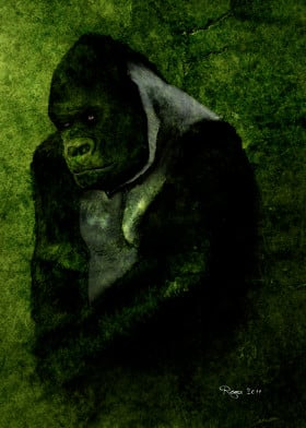 gorilla wild forest africa green wood peace wisdom roma digital paint animals