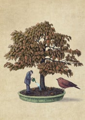 bonsai tree bird surreal nature gardening fantasy