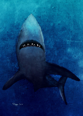 blue sea shark dark wild digital paint deep danger water marine