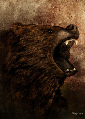 grizzly brown dark wild animals angry teeth forest digital paint bear united states lakes rough