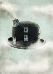 bowler hat dreams clouds sky travel home surreal