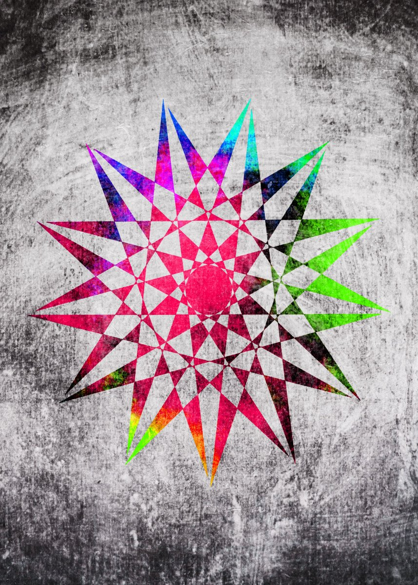 Colorful Trippy Star (vector) with Grunge background - I hope you like