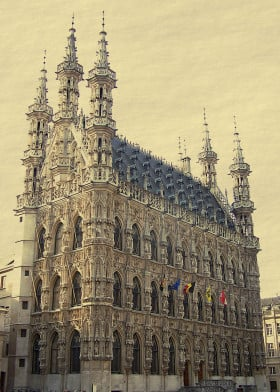 gothic medieval townhall belgium louvain building town city hall