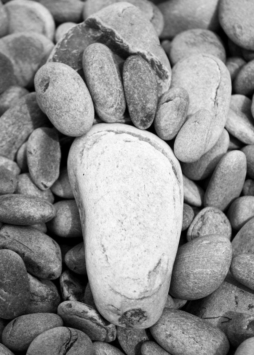 composition from white stones on the beach forming a foot