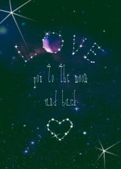 love you to the moon and back galaxy stars love valentines lovers gift friends bedroom night dark