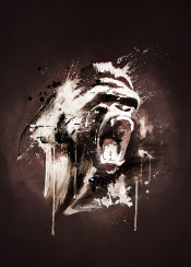 wild gorilla angry illustration cool splatter colors