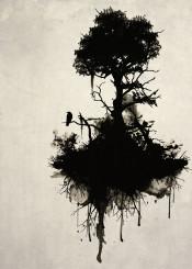 tree nature forest raven bird mist oil branches death