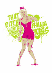 nurse blood bloody zombie bite bitch pink green vector illustration comics vintage