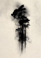 forest wood woods mist fog watercolor tree trees floating mystical enchanted magic horror scary