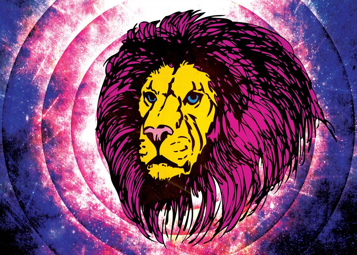 The Lion - I hope you like it. Retro background with grunge texture to