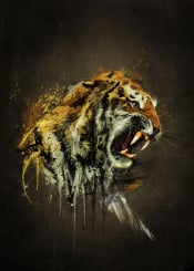 tiger wild illustration fan yellow black oil painting emiliano morciano