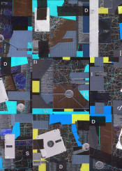 collage combination invert negative blue yellow black disk cardboard old maps letters
