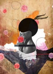 collage fashion rose flower modern grungy mountain cloud legs lust woman beauty luxury