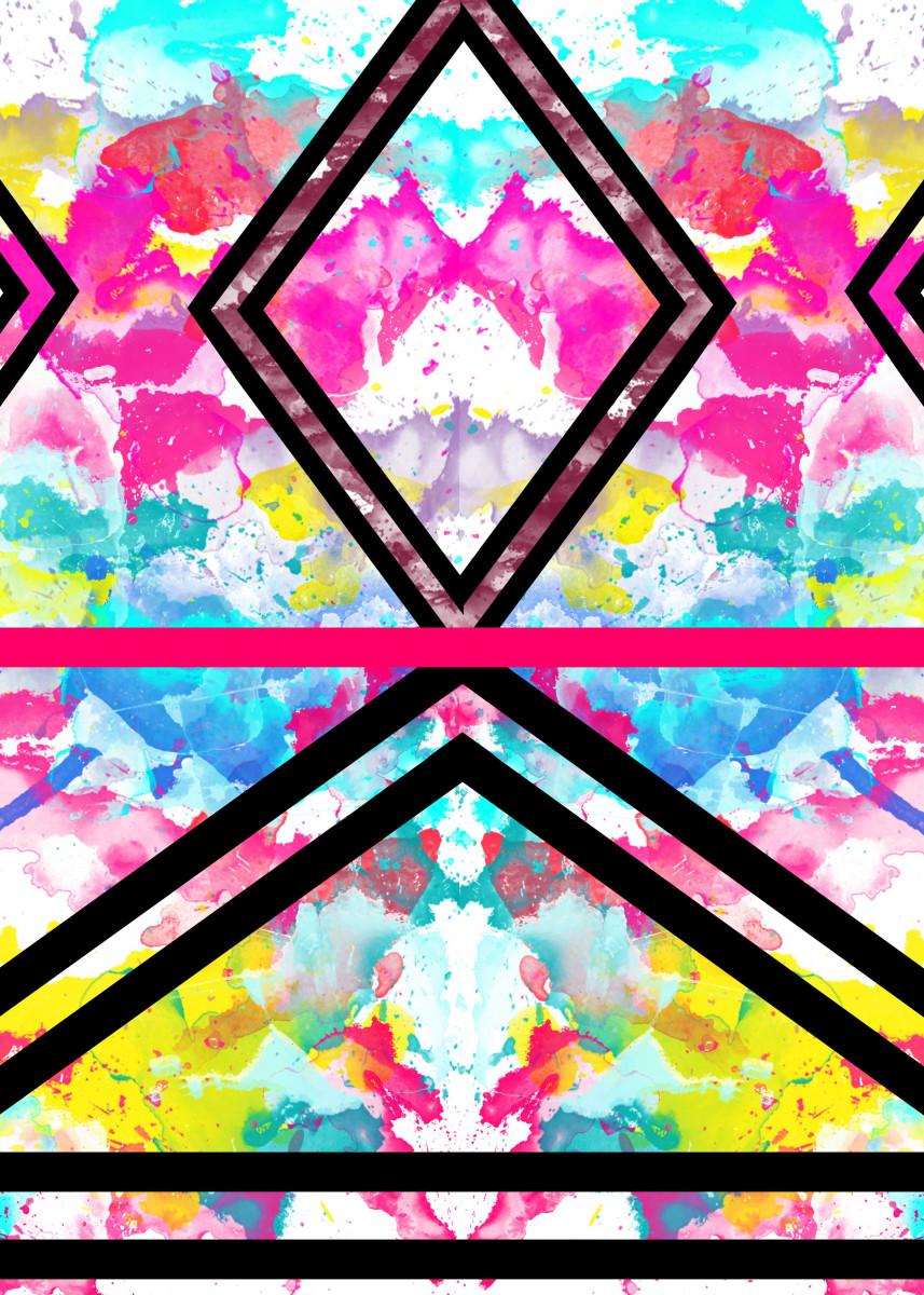 Immagine di Fashion Stripes Neon Rainbow Watercolor. girly, stylish and fashion d