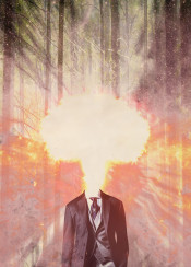 explosion collage man suit tie costume fire woods grungy musgroom cloud