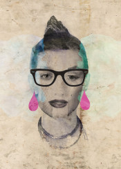 collage grungy glasses face woman marilyn female girl vintage drops rock sophisticated neclkace