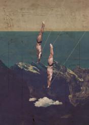 diving dive high mountains dark vertical man men risk collage grungy mountains sea horizon