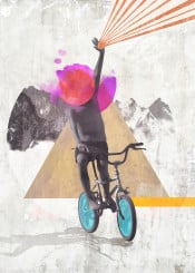 collage kid child rainbow ride bike freedom revolution free bicycle grungy colors